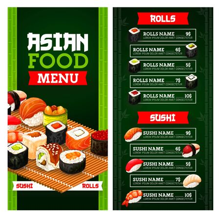 Asian food menu of Japanese sushi vector design. Fish, rice and seafood sushi nigiri and rolls, salmon, tuna and shrimp maki, seaweed, avocado and ikura gunkan, uramaki, philadelphia and california