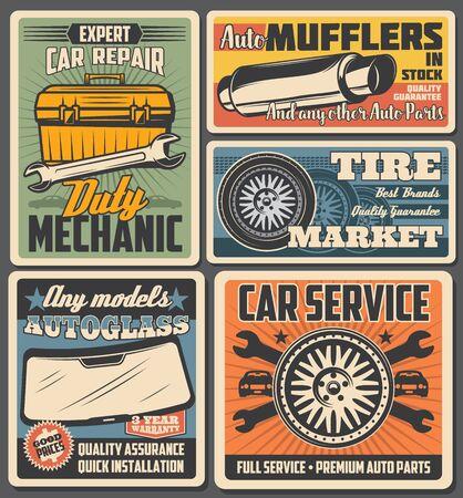 Carteles de vector de servicio de automóvil y reparación de automóviles con repuestos y caja de herramientas de mecánica de vehículos. Ruedas de automóviles, neumáticos y llaves inglesas, llaves inglesas, gafas y tubos de escape de diseño retro. Ilustración de vector