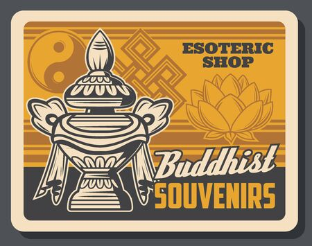 Buddhism religion treasure vase vector design. Buddhist religious symbols of treasure and wealth with sacred lotus flower, yin yang and endless knot. Oriental souvenirs of esoteric shop