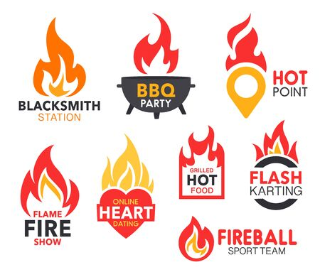 Fire flame vector icons of hot fireballs and burning blaze. Bbq party, grilled food and sport team, fire show, hot point and online heart dating, blacksmith station and flash karting company emblems Stock Illustratie