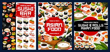 Sushi menu of Japanese cuisine restaurant rolls, nigiri and temaki sushi, Asian food vector design. Rice, fish and seafood maki, salmon, tuna and shrimp gunkan, seaweed and caviar uramaki with sauces