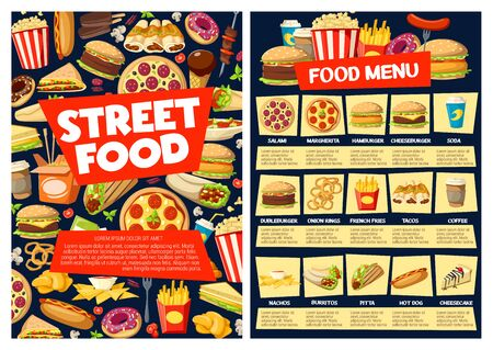 Fast food restaurant vector menu with burger sandwiches, drinks and desserts. Pizza, hamburger and soda, hot dog, fries and coffee, cheeseburger, mexican tacos and burritos price list template