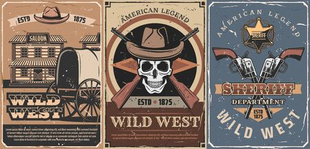 Wild West American Legend retro posters. Vector cowboy skull, sheriff guns and leather hats, western saloon, rifles, star badge and old wagon cart, decorated with vintage ribbon banner