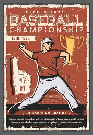 Baseball championship cup retro poster with vector ball, sport game pitcher player, team uniform, jersey shirt and cap, baseball stadium field and golden trophy. Professional league match promo design