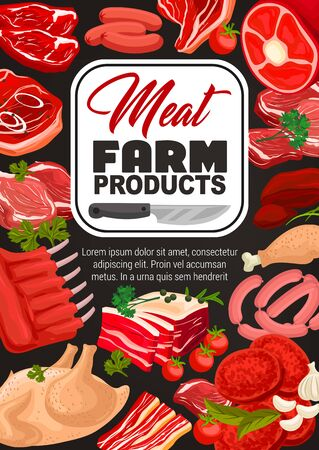 Meat and sausages vector design of farm food products with herbs and butcher knife. Pork sausages, barbecue beef steaks and sirloin, chicken, lamb rings and turkey leg, ham, bacon and bbq burger