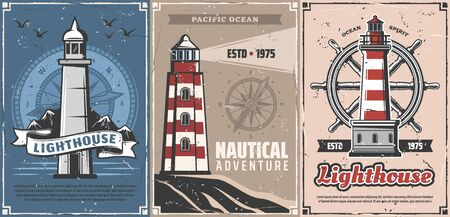 Lighthouses with vintage nautical compasses and sea ship helm vector design. Navigation towers of marine beacons and steering wheels of sailing boat retro posters. Nautical adventure, travel themes Standard-Bild - 128512565