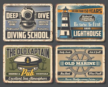 Nautical anchors, sea ship helm and marine lighthouse, sailing boat and vintage diving helmet vector design. Rusty metal signboards of seafood restaurant, marine club, pub and diving school Vector Illustration