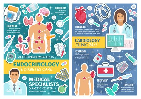 Cardiology clinic and endocrinology hospital doctors vector design with cardiologist, endocrinologist. Medical staff, pills and syringe, stethoscope, heart and ecg, blood pressure and glucose meters Illustration