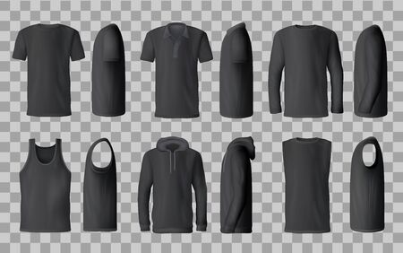 Male black shirt vector templates, 3d mockup of blank t-shirts from side and front views. Polo, sweatshirt and sleeveless tank top, hoodie and hooded long sleeve shirt. Male fashion, sport wear design Illustration
