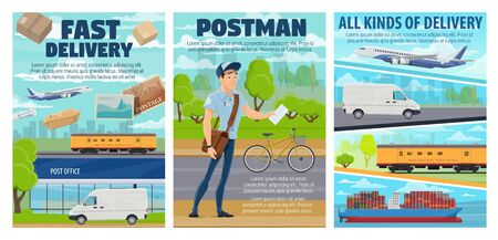 Postal service vector posters of post and mail delivery transport. Post office, postman and letters, parcel boxes, mail packages and envelope with postage stamps, truck, plane, train and bicycle
