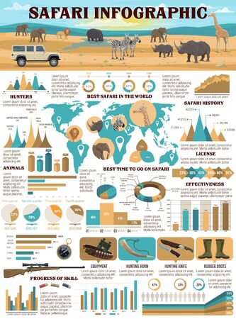 Safari hunting sport infographics with vector graphs of hunter equipment, charts and world map of African animals. Huntsman guns, rifle and lion, elephant, rhino and giraffe, hunting license, weapon Imagens - 128512583