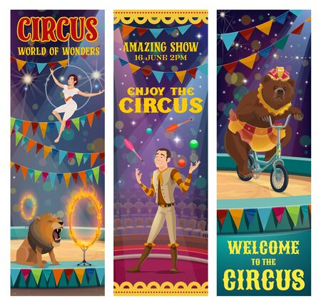 Circus show of acrobat, trained animals and juggler vector banners. Circus performer juggling balls on arena, bear riding bicycle, trapeze girl showing air tricks and lion with fire rings