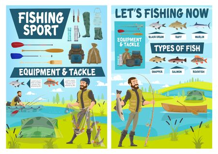 Fishing sport equipment, fish catch and fisherman tackle vector posters. Cartoon fisher and angler fishing with boat, net and rod, salmon, blue marlin and perch, hook, bait and lure, camp tent, paddle