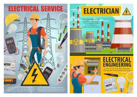 Servicio eléctrico y diseño vectorial de ingeniería de electricista con herramientas y equipos eléctricos. Cable de alimentación, probador y bombillas, medidor de electricidad, cable y batería, planta de energía nuclear, postes