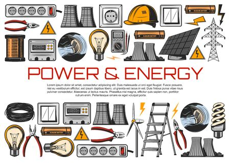 Electric power industry and electrical service vector design. Energy meter, wire and light bulbs, cable, electrician voltmeter and pliers, solar panels, wind turbines, nuclear plant and ladder Illustration