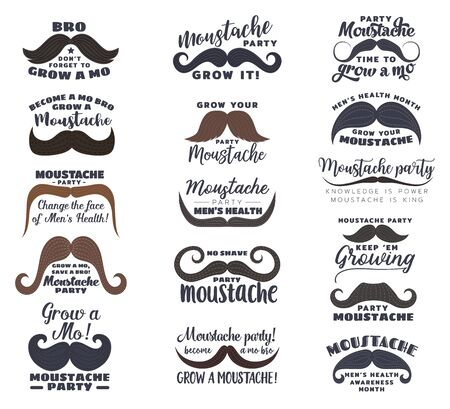 Moustache vector icons, men health month, prostate and testicular cancer awareness themes. Black and brown mustaches with Grown Mo Save Bro, No Shave Party and Change the Face lettering quotes