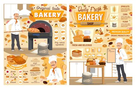 Bakery shop bread and pastries with baker posters design. Vector baguettes, croissants and buns, pizza, cakes and cupcakes, donuts, pies, sweets, cookies, waffle desserts of wheat, rye and corn flour