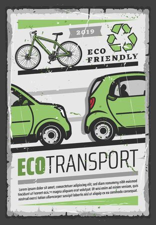 Eco transport vector design of ecology and environment friendly electric car, bicycle and green recycling symbol. Ecological vehicle retro poster Illustration