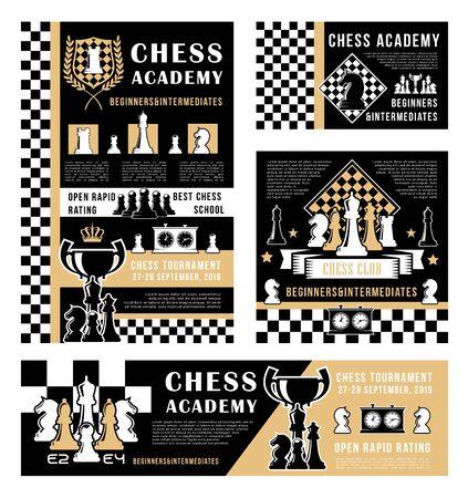 Schachsport-Brettspiel-Vektordesign von Stücken und Siegertrophäenbechern. Schachbretter mit schwarzen und weißen Bauern, Rittern und Türmen, Damen, Bischöfen und Königen, Uhren und Königskrone Vektorgrafik