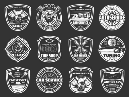 Car service, auto repair, spare parts and tire shop vector badges. Vehicle engine, wheel and motor oil, battery, piston and brakes, exhaust stack, spanner and wrench, rim, spark plugs and windscreen Illustration