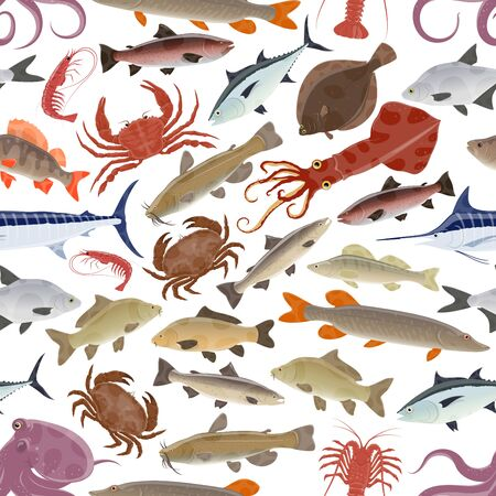 Seafood seamless pattern background with sea and ocean fish, marine animals and mollusk. Vector crab, lobster and blue marlin, salmon, octopus and shrimp, tuna, carp and perch, squid, prawn and pike 写真素材 - 128512797