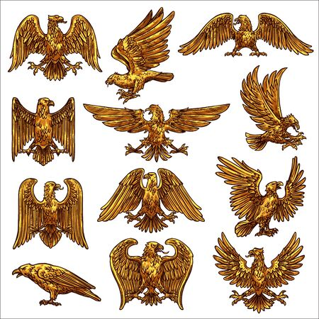 Golden heraldic eagle icons with vector birds of prey, falcon and hawks. Eagles flying and standing with raised and spread wings, gold feathers, claws and tails, royal coat of arms, falconry symbols