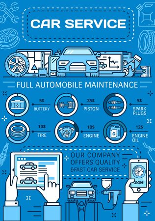 Car service poster of auto repair, vehicle diagnostics and maintenance. Vector thin line motor oil, engine spare parts and wheel tire, piston, spark plugs and battery, spanners, rims and wrenches