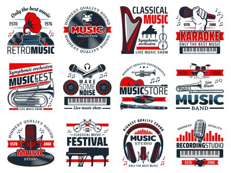 Music vector icons of musical instruments, microphone, sound recording studio equipment. Vinyl records player, guitar and piano, drum, violin and headphones, synthesizer and notes. Karaoke, live music  イラスト・ベクター素材