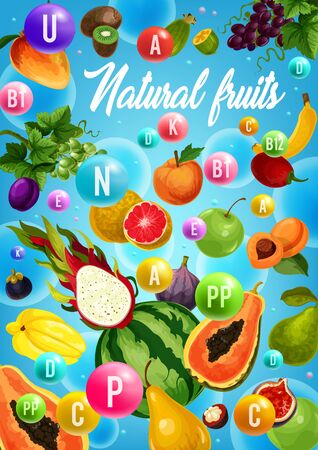 Natural fruit vitamins, healthy vegetarian food design with tropical berries. Vector orange, apple and mango, banana, grapes and watermelon, pear, kiwi and fig, plum, carambola and dragon fruit Banque d'images - 128512814