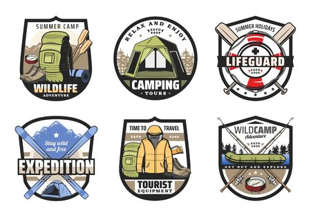 Camping, travel tour, summer vacation outdoor recreation and mountain adventure vector badges with tourist equipment. Camp tent, hiking and trekking boots, forest campfire, fishing boat and rod