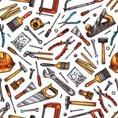 Hand tools seamless pattern background of house repair, construction and carpentry work vector design. Hammer, screwdriver and saw, toolbox, wrench and hardware toolkit, spanner, screw and paint brush