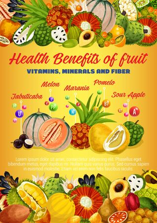Vitamins, minerals and fiber of exotic fruits and berries vector design. Health benefits of tropical durian, pomelo and melon, kumquat, pandan and physalis, cherimoya, longkong, pu hala and marang Illustration