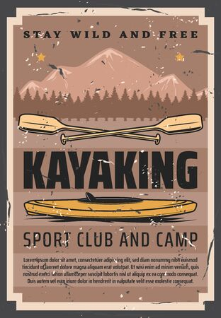 Kayak sport club and camp retro design of vector canoe boat and paddles with river, mountains and forest trees landscape on background. Rafting, kayaking and canoeing, outdoor adventure themes