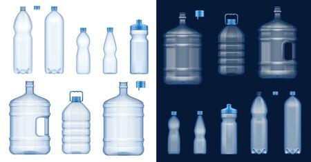 Botellas de agua de plástico maquetas de vectores 3d. Recipientes vacíos para bebidas de minerales transparentes, bebidas gaseosas y no alcohólicas, jarras de agua de un galón, paquetes deportivos y paquetes de un litro con tapas y asas azules