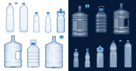 Plastic water bottles 3d vector mockups. Empty drink containers of clear mineral, carbonated and soft beverages, gallon cooler jugs, sport packs and liter packages with blue lids and handles