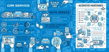 Auto service, car repair and vehicle maintenance vector design. Motor engine oil, wheel tire and battery, piston, spark plugs and brake diagnostics, spare parts replacement thin line posters