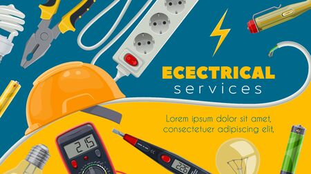 Electric service and electrical power work vector banner of electrician tools and equipment. Energy wire or cable, tester, light bulbs, socket and plug, battery, pliers, voltmeter and hard hat