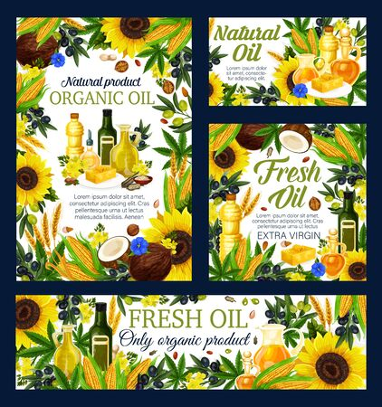Cooking oil with vector frame of natural vegetable food ingredients. Olives, corn and sunflower, peanut, walnut and almond, rapeseed, canola and soybean, coconut, sesame and flex oil design Illustration