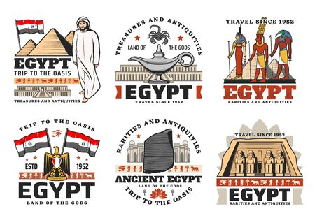 Egypt vector icons with ancient travel landmarks. Egyptian pharaoh pyramids of Giza, eye of Horus, Anubis and Ankh gods, Cairo mosque and Abu Simbel temple with flag and heraldic eagle of Egypt Foto de archivo - 128513068