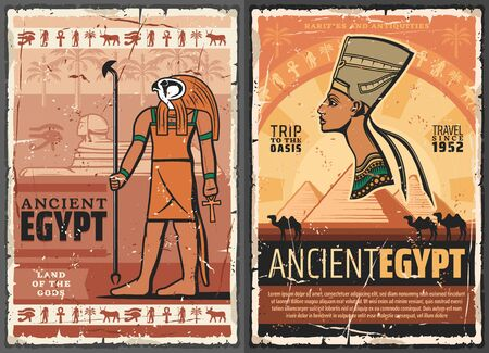 Egyptian travel vector posters with ancient Egypt pharaoh, Sphinx of Giza pyramids and Horus God with ankh, Nefertiti queen, hieroglyphs, palms and camels, history, egyptology and mythology design Illustration