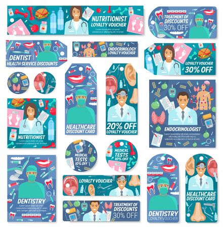 Medicine clinic of dentistry, endocrinology, otolaryngology and nutrilogy discount offer tags with vector doctors and medical tools. Hospital staff, pills and stethoscope, syringe, human organs, teeth Stock Vector - 128513073