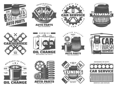 Car service retro icons design with auto spare parts and car wash equipment. Vehicle tuning, motor oil change and mechanic gear, filters, bearing and number plates, spring, wipers and battery jumper Stock Illustratie