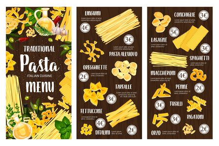 Pasta, spaghetti and macaroni vector menu of Italian cuisine. Penne, farfalle and fusilli, conchiglie, lasagna and rigatoni, linguine, fettuccine and ditalini with olives, rosemary and garlic frame Illustration