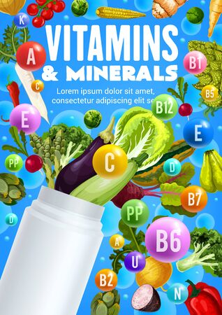 Vitamins and minerals of fresh vegetables vector design with health food nutrition benefits. Pepper, tomato and broccoli, onion, carrot and corn veggies with blank plastic bottle of multivitamins