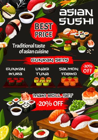 Asian sushi rolls, temaki and nigiri set vector menu of Japanese cuisine restaurant. Rice, salmon fish and seafood maki, tuna gunkan, shrimp and ikura uramaki, california, philadelphia and hosomaki