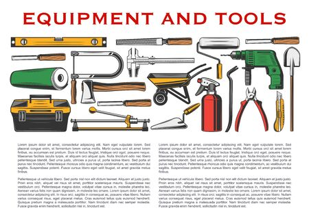 Repair tools and house construction equipment vector design of home building instruments. Hammer, drill and shovel, paint roller, wheelbarrow and trowel, axe, toolbox and ruler, tile cutter, knife