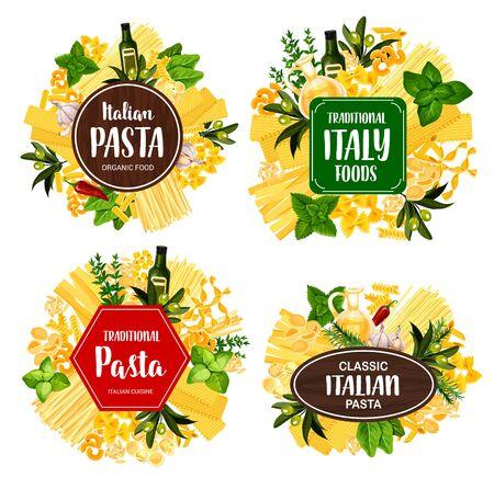 Icone di vettore di cibo di pasta italiana con spaghetti, spezie, erbe e maccheroni. Penne, fusilli e farfalle, conchiglie, fettuccine e lasagne, noodle, olio d'oliva e basilico, aglio, rosmarino e timo Vettoriali