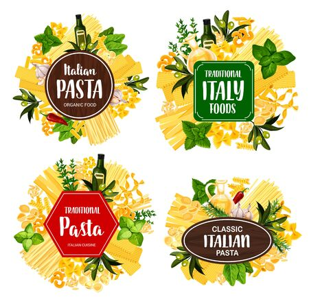 Italian pasta food vector icons with spaghetti, spices, herbs and macaroni. Penne, fusilli and farfalle, conchiglie, fettuccine and lasagna, noodle, olive oil and basil, garlic, rosemary and thyme
