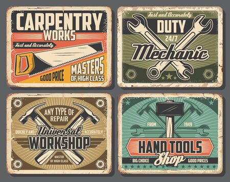 Repair work tools rusty metal boards with vector hammers, spanners and wrenches, saw, screws and fasteners. Car service, carpenter workshop and mechanic garage design  イラスト・ベクター素材