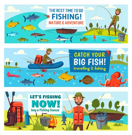 Fishing sport, catch fish and fisherman equipment vector banners. Fisher and angler, fishing rod, net and boat, river carp, hook and tackle, blue marlin, salmon and trout, boots, backpack and bucket  イラスト・ベクター素材